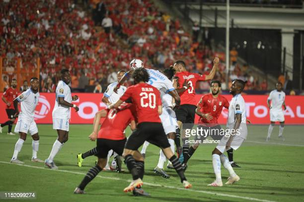 Egypt's Ahmed Elmohamady heads the ball during the 2019 Africa Cup of Nations Group A soccer match between Egypt and the Democratic Republic of the...