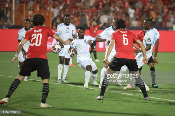 Egypt's Ahmed Elmohamady scores his side's first goal during the 2019 Africa Cup of Nations Group A soccer match between Egypt and the Democratic...