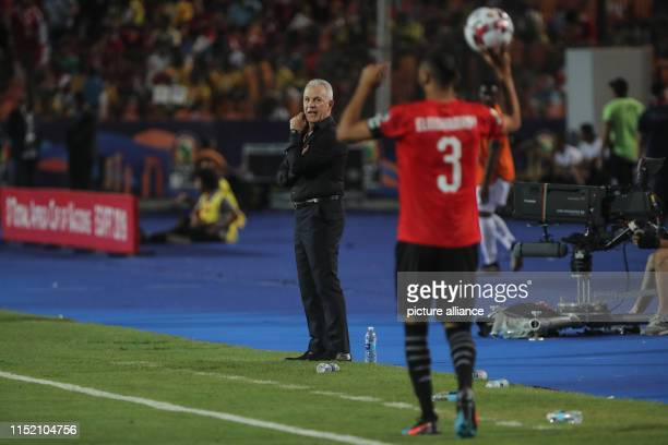 Egypt's head coach Javier Aguirre reacts on the touchline during the 2019 Africa Cup of Nations Group A soccer match between Egypt and the Democratic...