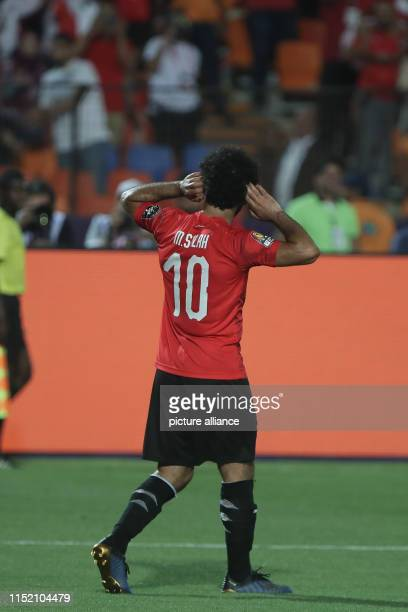 Egypt's Mohamed Salah celebrates scoring his side's second goal during the 2019 Africa Cup of Nations Group A soccer match between Egypt and the...