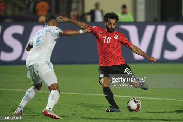 Egypt's Mohamed Salah shoots on goal during the 2019 Africa Cup of Nations Group A soccer match between Egypt and the Democratic Republic of the...