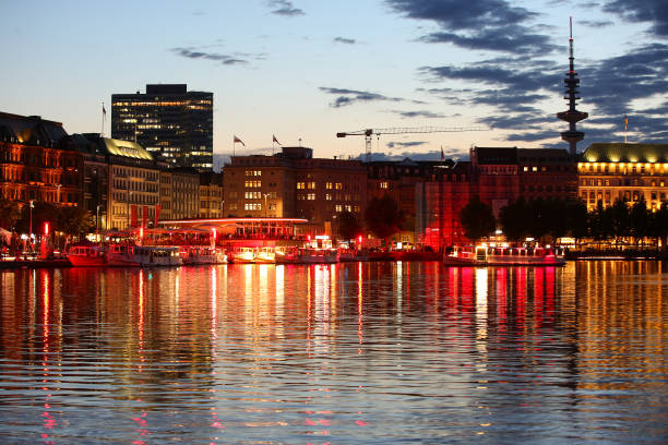 DEU: Light Installation For 160 Years Of Alster Shipping