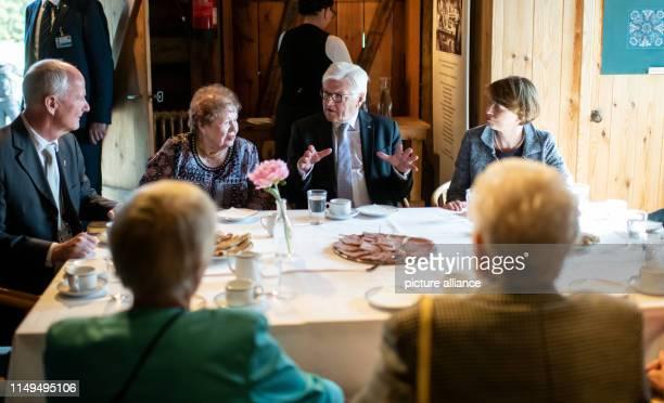 June 2019, Iceland, Reykjavik: Federal President Frank-Walter Steinmeier and his wife Elke Büdenbender talk with Herbert Beck , German Ambassador to...