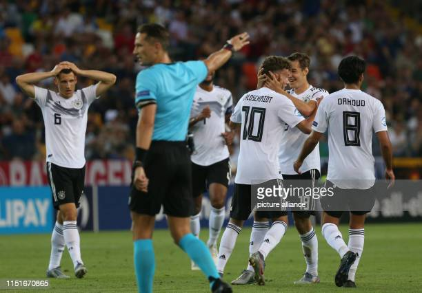 Football U21 men Germany Austria European Championship preliminary round Group B Luca Waldschmidt from Germany celebrates his goal with Florian...