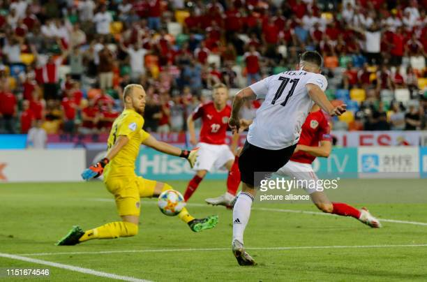 Football U21 men Germany Austria European Championship preliminary round Group B Marco Richter from Germany and Alexander Schlager from Austria in...