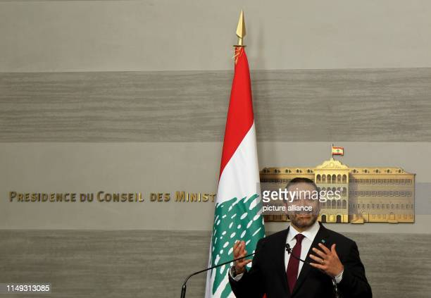 Lebanese Prime Minister Saad Hariri speaks during a press conference at the Government Palace Photo Marwan Naamani/dpa