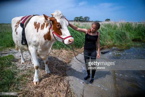 11 June 2019 MecklenburgWestern Pomerania Wolgast 18yearold Paulina Zargus a trainee at Peeneland Agrar GmbH is standing on the banks of the river...