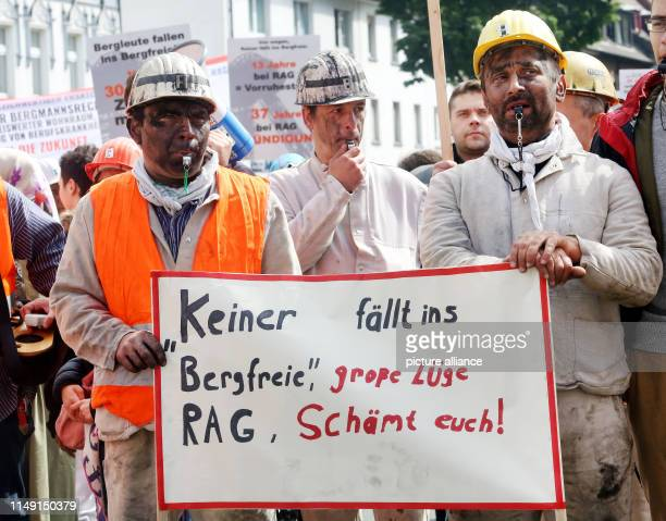 11 June 2019 North RhineWestphalia Bottrop Former miners of ProsperHaniel colliery demonstrate in a train to the Federal Employment Agency against...