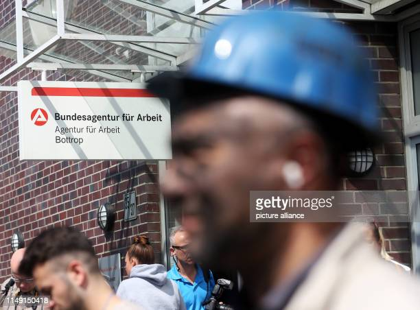 11 June 2019 North RhineWestphalia Bottrop Former miners of ProsperHaniel colliery demonstrate in front of the Federal Employment Agency against...