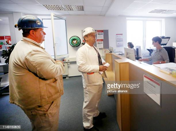 11 June 2019 North RhineWestphalia Bottrop The miners Andreas Bossenheiff and Elmar Hammerschmidt register as unemployed at the Federal Employment...