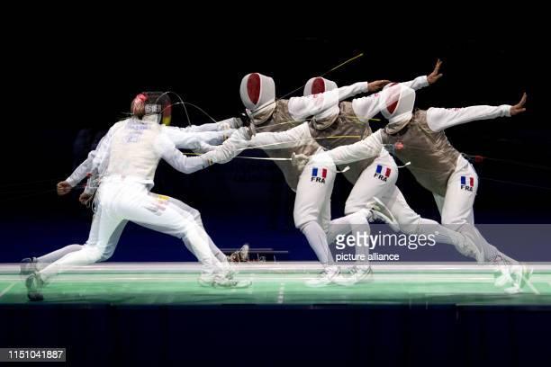 June 2019, North Rhine-Westphalia, Duesseldorf: Fencing: European Championship, Florett Team, Men, Final, Germany - France: Germany's Luis Klein...