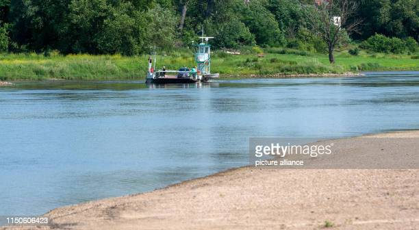 The ferry Rogätz travels across the Elbe to the shore of the Jerichower Land In the foreground is a sandbank The level of the Elbe river at the river...