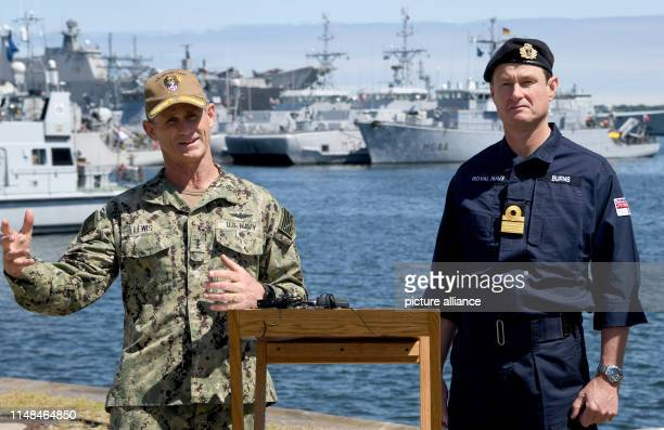 June 2019, Schleswig-Holstein, Kiel: The admirals Andrew Lewis, US Navy, and Andrew Burns, Royal Navy, are at a press conference for the launch of...