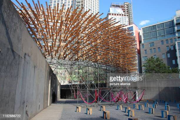 View of the museum MoMA PS1 The GermanMexican architectural duo Pedro Juana have built an urban jungle including hammocks and a waterfall A circular...