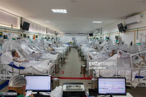 June 2020, Brazil, Manaus: View into the intensive care unit of the Gilberto Novaes Municipal Field Hospital. The field hospital was set up in a...