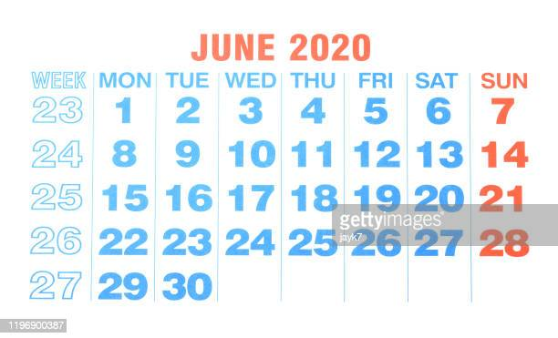june 2020 month calendar - june stock pictures, royalty-free photos & images