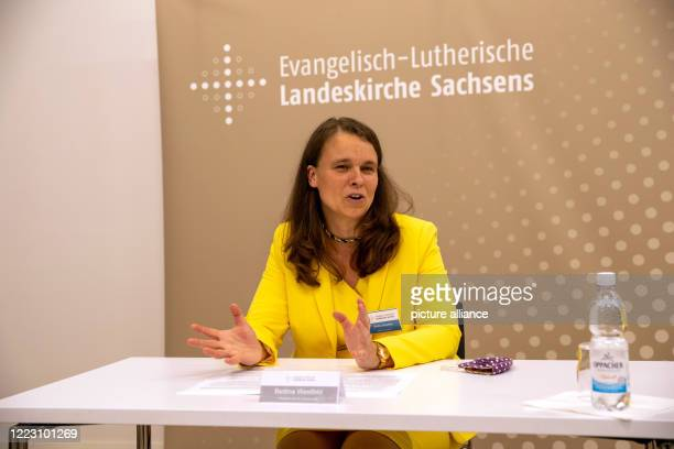 June 2020, Saxony, Dresden: Bettina Westfeld, newly elected Synodal President of the Evangelical Lutheran Church of Saxony, speaks at a press...