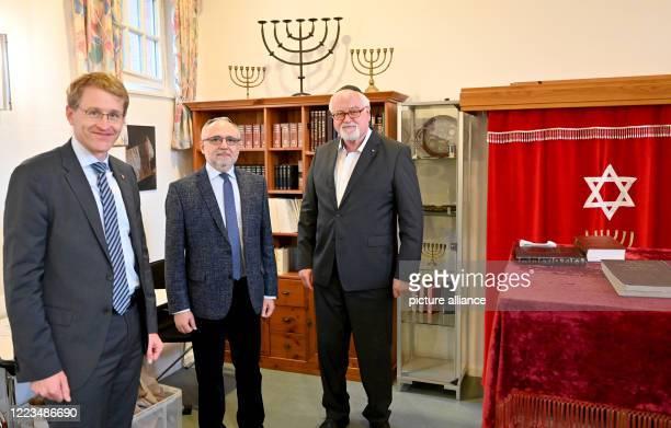 June 2020, Schleswig-Holstein, Kiel: Daniel Günther , Prime Minister of Schleswig-Holstein, Igor Wolodarski, Chairman of the Jewish Community of Kiel...