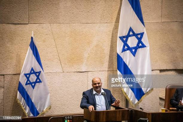 June 2021, Israel, Jerusalem: Mansour Abbas, leader of the United Arab List and representative of the party in the Knesset, speaks during a session...