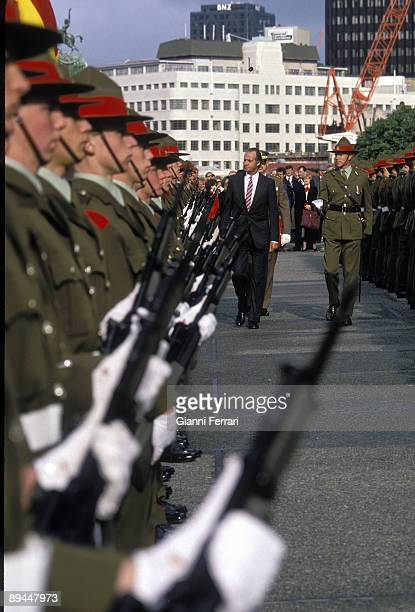 June 21 1988 Wellington New Zealand Official visit to the Kings of Spain to New Zealand In the image King Juan Carlos review the troops