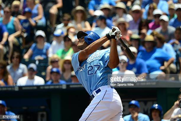 Kansas City Royals' rightfielder Justin Maxwell pops out during a major league baseball game between the Seattle Mariners and the Kansas City Royals...