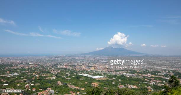 A view of the volcano Mount Vesuvius from the Riserva Statale Valle delle Ferriere on the way to the Amalfi Coast showing the towns of Pompei Scafati...