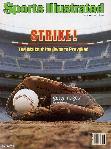 June 22 1981 Sports Illustrated via Getty Images Cover Baseball MLB Player's Strike View of ball in glove equipment at empty Yankee Stadium Bronx NY...