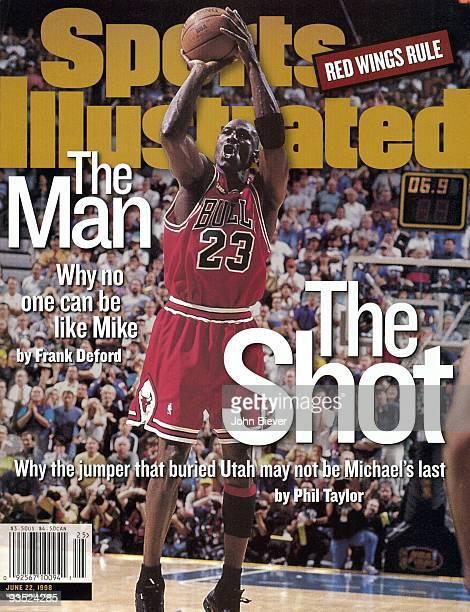 Basketball NBA Finals Chicago Bulls Michael Jordan in action game winning shot vs Utah Jazz Game 6 Salt Lake City UT 6/14/1998 CREDIT John Biever