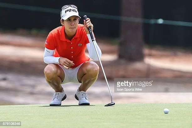 Azahara Munoz lines up her putt during match play at the Womens US Open Championship at Pinehurst No 2 at Pinehurst Resort in Pinehurst NC