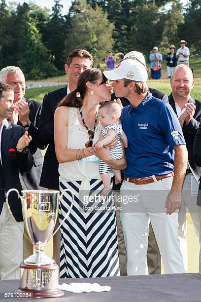 Kevin Streelman with wife Courtney and daughter Sophie after winning the Travelers Championship at TPC River Highlands in Cromwell CT