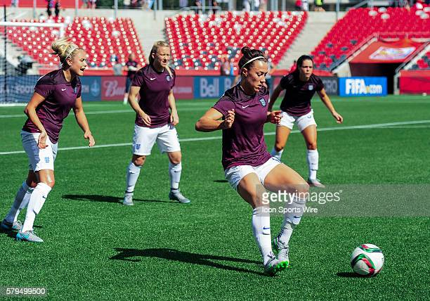 England defenders go through a training drill before the FIFA 2015 Women's World Cup Round of 16 match between Norway and England at Lansdowne...