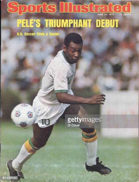 June 23, 1975 Sports Illustrated via Getty Images Cover, NASL Soccer: New York Cosmos Pele in action vs Dallas Tornado at Downing Stadium, New York,...