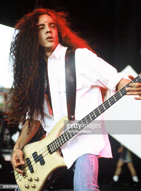 VIEW CA June 23 Mike Inez of Alice in Chains performing at Lollapalooza 1993 at Shoreline Amphitheater Event held on June 23 1993 in Mountain View...
