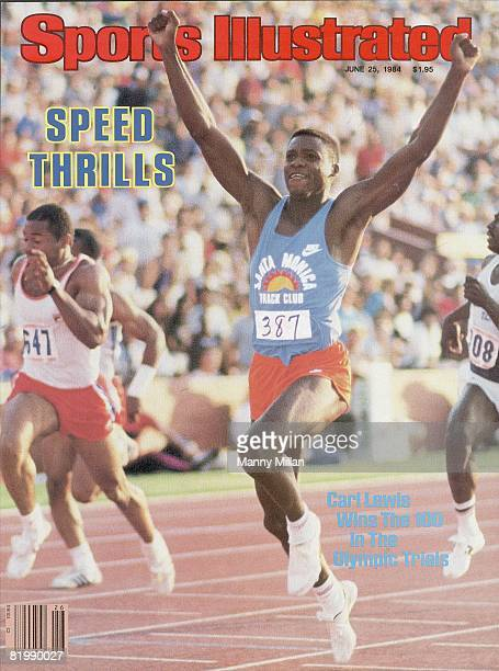 Track Field US Olympic Trials Carl Lewis victorious after winning 100M Finals at Memorial Coliseum Los Angeles CA 6/16/1984 CREDIT Manny Millan