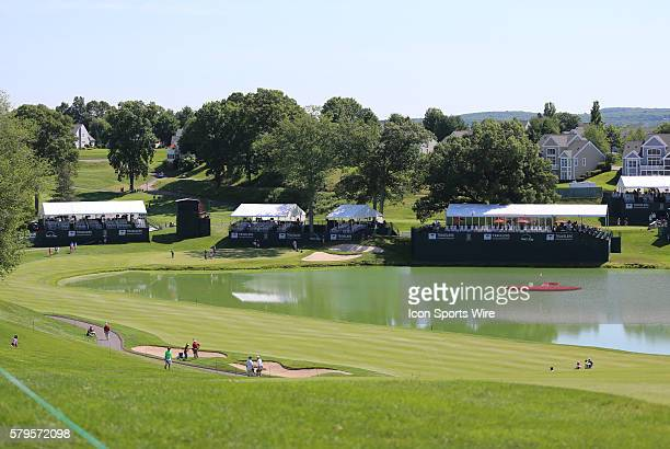 The 17th fairway and green during the first round of the Traveler's Championship at TPC River Highlands in Cromwell Connecticut
