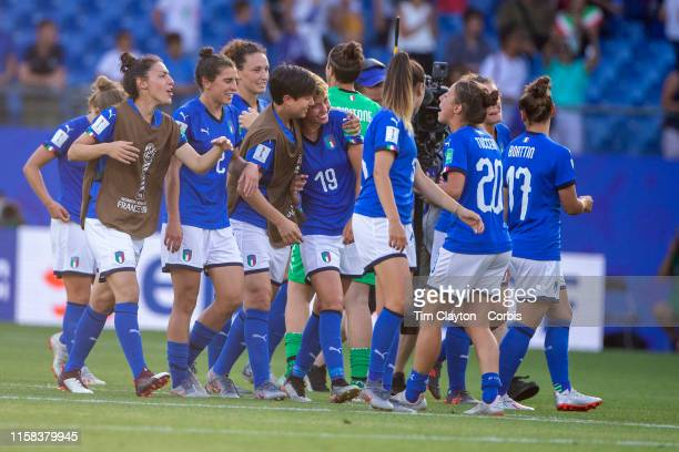June 25. A crying Valentina Giacinti of Italy is consoled by team mates after the team victory during the Italy V China, round of sixteen match at...