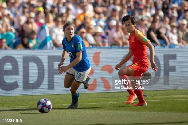 June 25 Elisa Bartoli of Italy defended by Han Peng of China during the Italy V China round of sixteen match at the FIFA Women's World Cup at Stade...