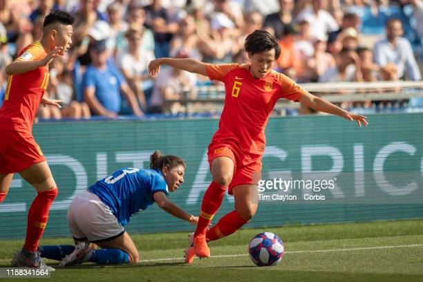 June 25 Han Peng of China in action during the Italy V China round of sixteen match at the FIFA Women's World Cup at Stade De La Mosson on June 25th...
