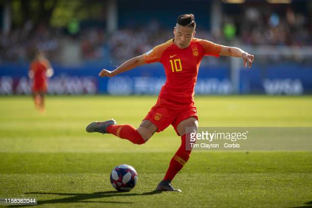 June 25 Li Ying of China shoots during the Italy V China round of sixteen match at the FIFA Women's World Cup at Stade De La Mosson on June 25th 2019...