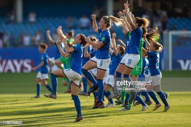 June 25 The Italian team celebrate after their 20 victory during the Italy V China round of sixteen match at the FIFA Women's World Cup at Stade De...