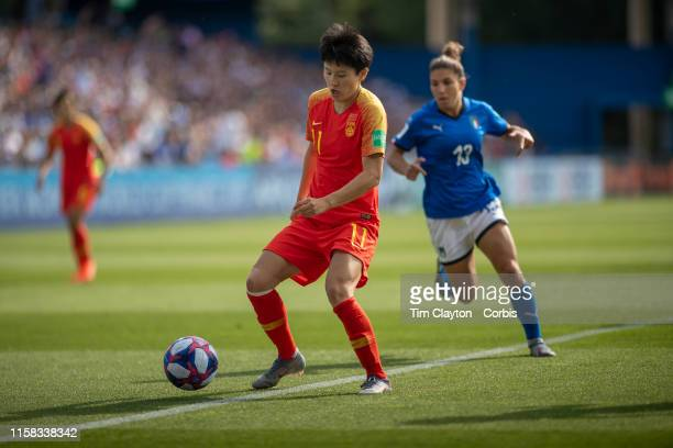 June 25 Wang Shanshan of China in action during the Italy V China round of sixteen match at the FIFA Women's World Cup at Stade De La Mosson on June...