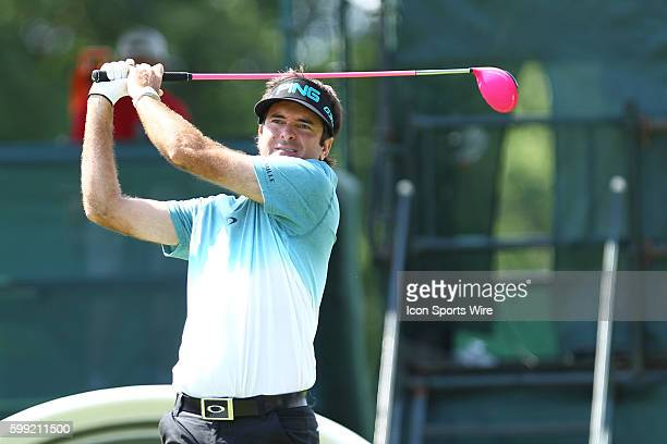 Bubba Watson grimaces as his ball fades to the left at 18 during the second round of the Travelers Championship at TPC River Highlands in Cromwell CT
