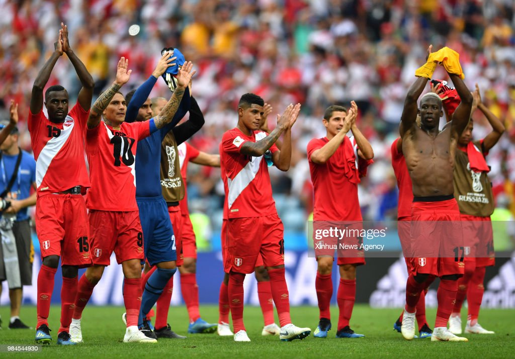 ff6a412a73e106 SOCHI, June 26, 2018 -- Players of Peru greet the audience after the ...