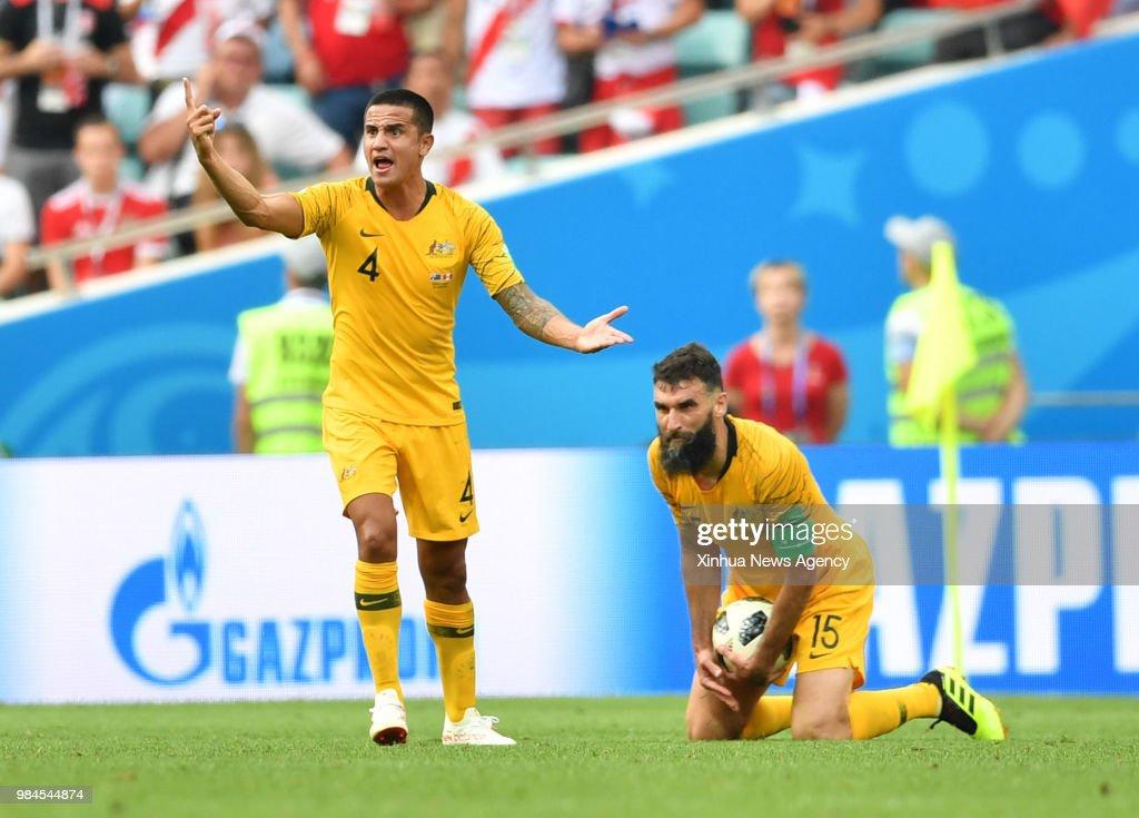 ab9f2c9ec7c447 SOCHI, June 26, 2018 -- Tim Cahill and Mile Jedinak of Australia ...