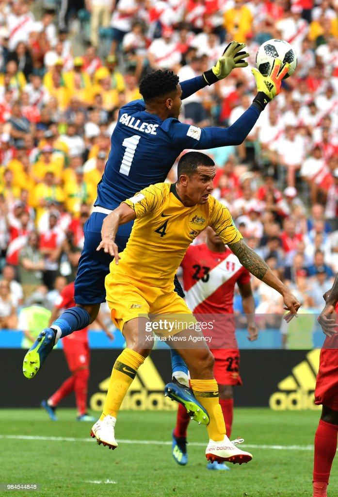 7bb05debbd3ba0 SOCHI, June 26, 2018 -- Tim Cahill of Australia vies with goalkeeper ...
