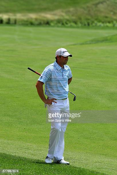Sergio Garcia was not happy with his chip shot during the PGA Tour's Travelers Championship at the TPC at River Highlands course in Cromwell, CT.