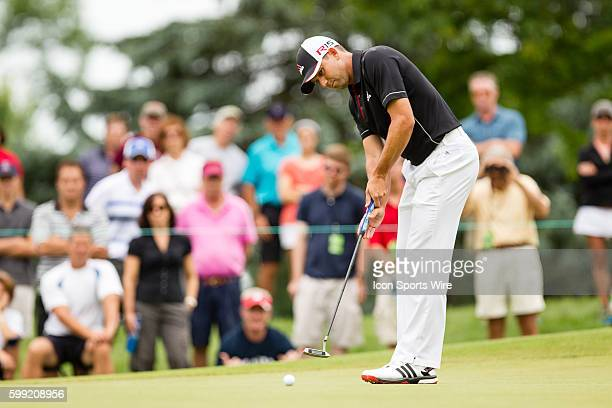 Sergio Garcia putting during the third round of the Travelers Championship at TPC River Highlands in Cromwell CT