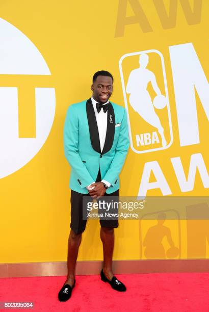 NEW YORK June 27 2017 NBA player Draymond Green poses for photo on the red carpet at the 2017 NBA Awards in New York the United States June 26 2017