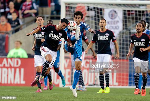 New England Revolution's Lee Nguyen gets his head in on Philadelphia Union's Cristian Maidana The Philadelphia Union defeated the New England...