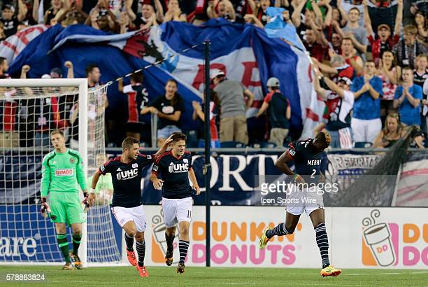 New England Revolution's Saer Sene displays his tee shirt after scoring for New England The Philadelphia Union defeated the New England Revolution 31...